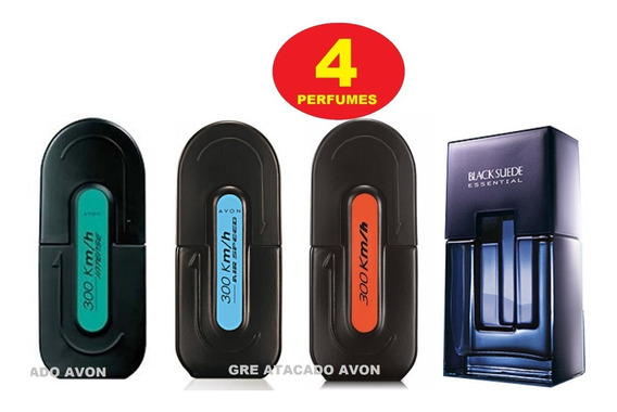 4 Perfumes Masculino Avon 300km Barato + Black Essential