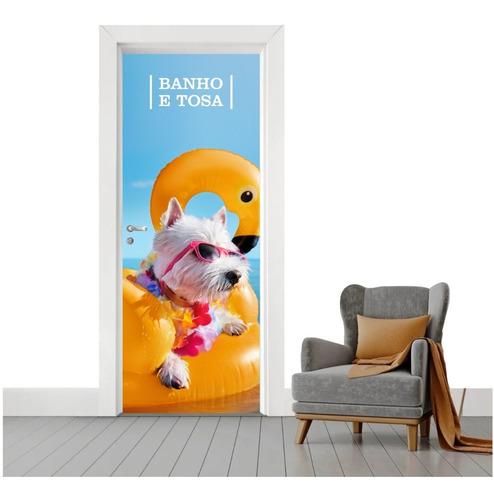 Adesivo De Porta Cachorro Decoração Petshop Banho E Tosa
