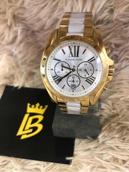 Relógio Mk5743 Romano, Dourado C/ Branco Original Com Caixa