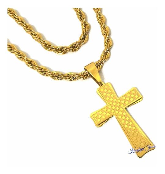 Cordão E Crucifixo Grande Masculino Aço Banhado Ouro 18k