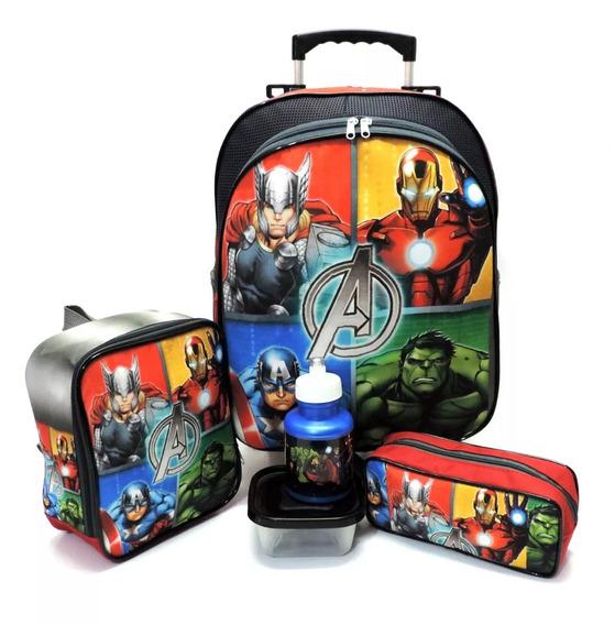 Kit Mochila Infantil Escolar Vingadores Advengers Hulk Homem De Ferro Capitao America Thor Rodinhas Tam G F5