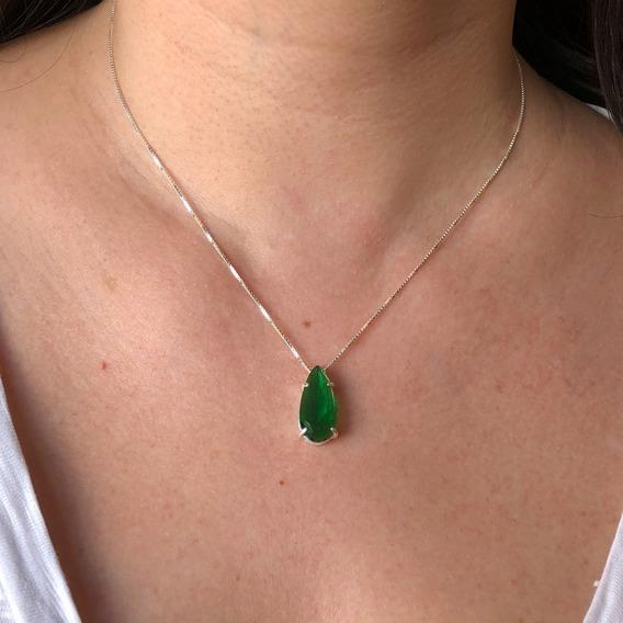 Colar Cordão Pingente Gota Verde Esmeralda Prata Legítima