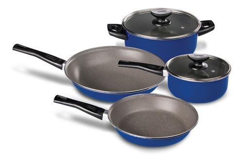 Batería De Cocina 6 Pzas Azul Con Antiadherente Roca Cinsa