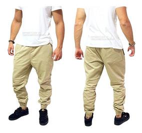 Calça Masculina Jogger Com Elastico Camuflada Cor Verde Top