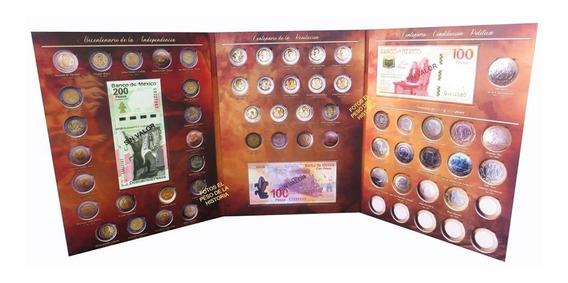 Album Monedas 5 Y 20 Pesos Billetes 100 Y 200 Aguila