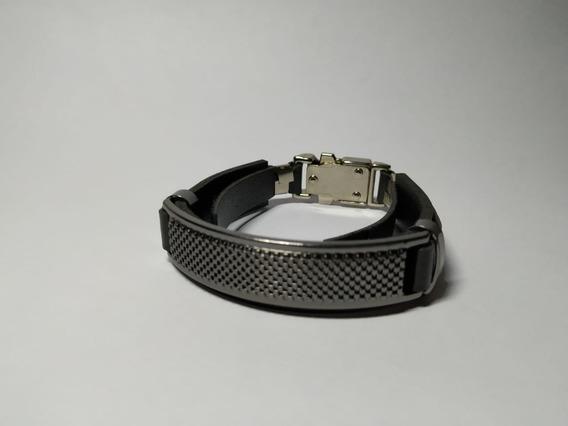 Pulseira De Couro Steel Black Regulável