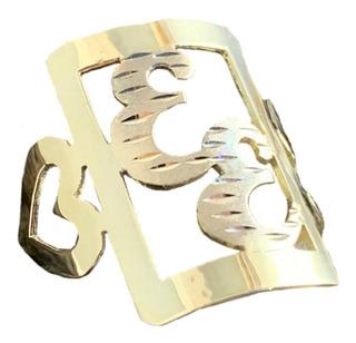 Anel De Letra (duas Letras) 2,0g Em Ouro 18k - 750