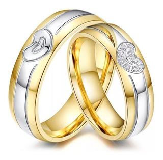 Argollas De Matrimonio En Plata Y Baño De Oro Ref D01