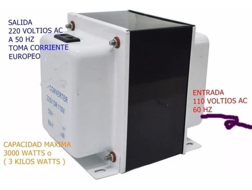 Imagen 1 de 1 de Transformador De 110vac A 220vac A 50 Hz Para Equipos Europe