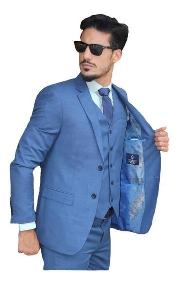 Terno Slim Azul Bebê Em Poliviscose : Paletó+calça+colete