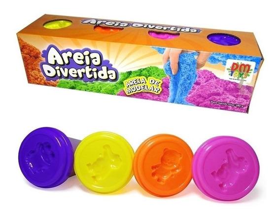 Areia Divertida De Modelar 4 Potes Cores Variadas Dm Toys