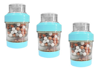 Lux Sany Xr-01la Set 3 Mini Filtros Purificadores De Agua Para Llave Color Verde Elimina Cloro Bacterias Impurezas