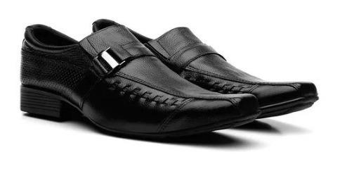 Sapato Social Masculino Em Couro Costura Manual Com Carteira