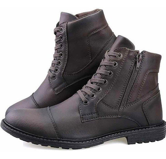 Bota Masculina Sapato Coturno Casual Super Leve Ziper Kr