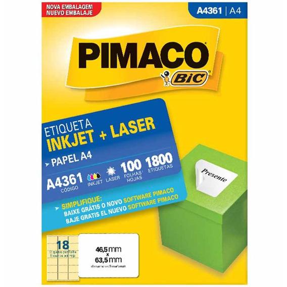 Etiqueta A4361 46x63mm 3col 1800un / 100fl / Pimaco