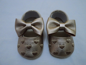 Sapato Para Batizado E Festa Dourado Menina Importado