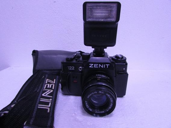 Maquina Fotografica Zenit 122+bolsa+flash Ind. Brasileira