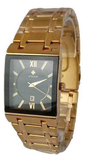 Relógio Masculino Dourado Fundo Preto Lindo 2020