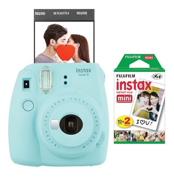 Câmera Fujifilm Instax Mini9 Azul Aqua + Filme Com 20 Poses