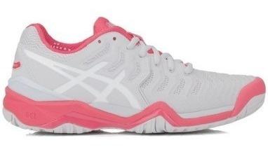 Tenis Asics Resolution 7 Feminino Cinza Branco Rosa 34