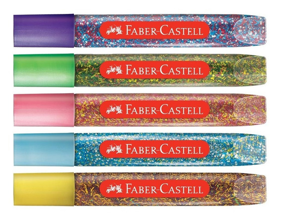 Cola Colorida Com Glitter Faber Castell 5 Cores