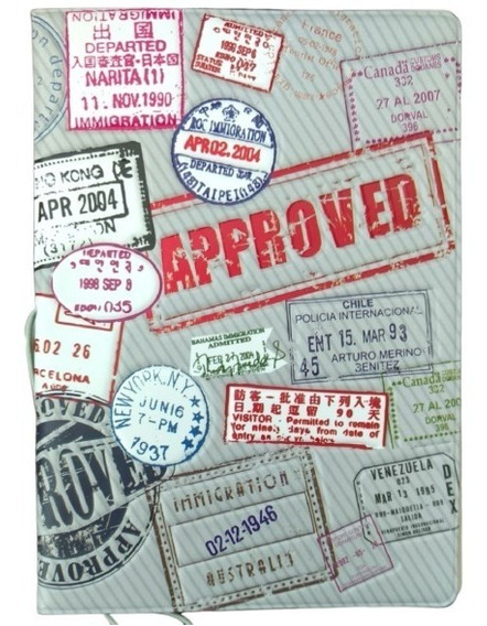 Capa Para Passaporte Pvc Carimbos Charmoso World Trip Cinza@