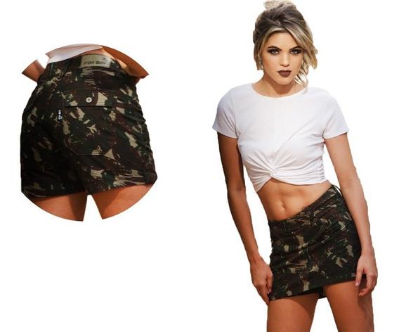 Short Saia Feminina Moda Militar Cintura Alta Camuflada Army