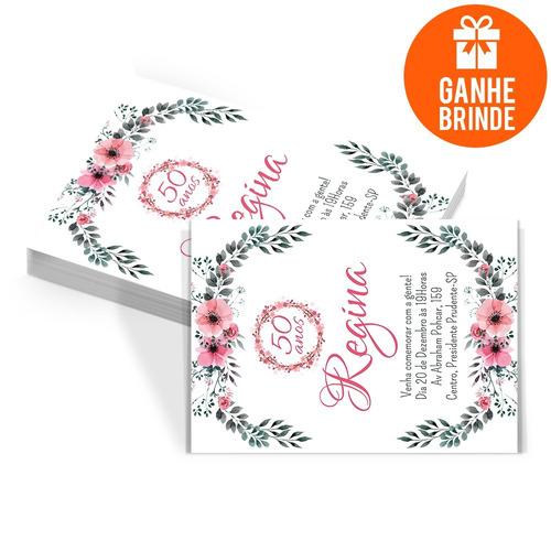 Imagem 1 de 4 de 60 Convites Aniversário Adulto Florais + Brinde