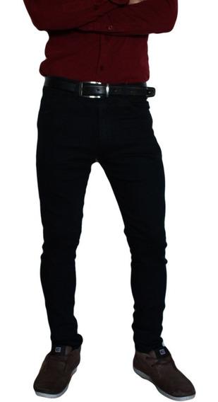 Pantalon Jean Chupin Negro Elastizado Hombre Microcentro