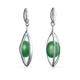 1ed512542f3f Teñido Verde Jade Caged Piedra Preciosa Pendientes Conforma