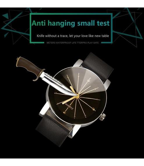 Relógio Quartzo De Luxo Pulseira Em Couro Pu Masculino Preto