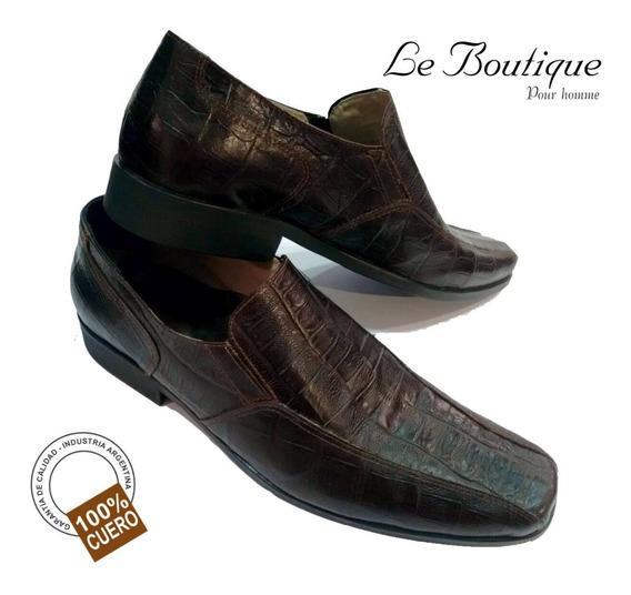 Zapato Cuero Diseño Hombre Punta Cuadrada Jhon Boll Hot Sale
