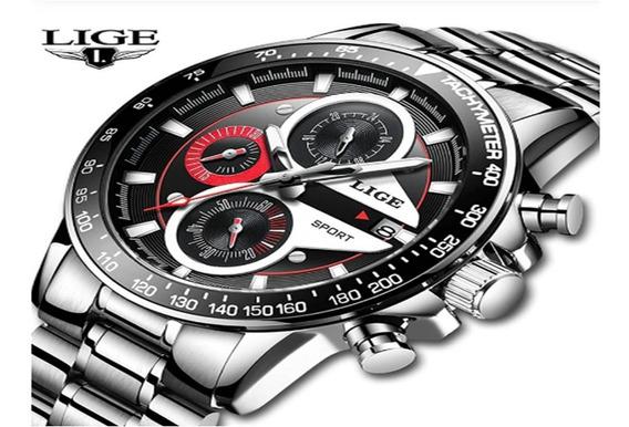 Relógio Masculino Em Aço E À Prova De Agua Modelo 9835 Lige