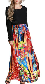 Women Maxi Long Dress Print Long Sleeves Pockets Elastic
