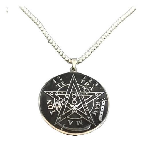 Collar Acero Inoxidable Pentagrama Estrella Wicca Hombre