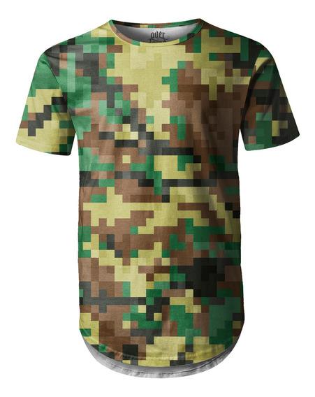 Camiseta Masculina Longline Swag Camuflado Pixels
