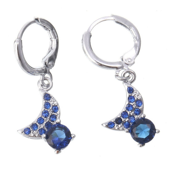 Brincos Feminino Cristal Azul Ouro14kplated Cor Prata 168