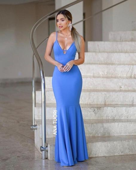 Vestido Madrinha Azul Lago Festa Longo Sereia Formatura #67