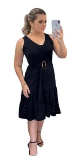 Vestido Boneca Moda Evangélica Rodado E Acinturado