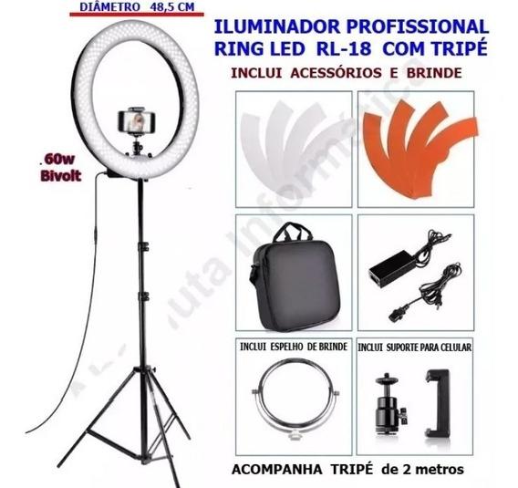 Iluminador Ring Led Light Rl-18 Com Tripé E Acessório