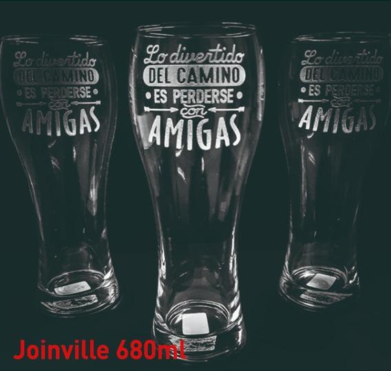 Vasos Vidrio Joinville 680ml. Cervecero Personalizado Grabado X1u Eventos Cumpleaños Regalos Vaso Cerveza Cervecería
