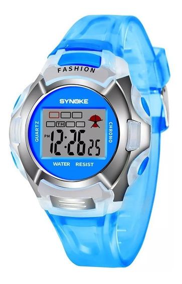 Relógio Original De Pulso Infantil Synoke Alarme Luz
