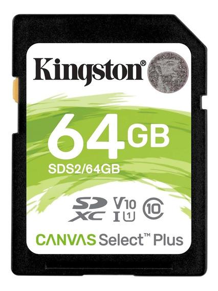 Cartão Memória Sd Kingston 64gb Canvas Select Plus Classe 10