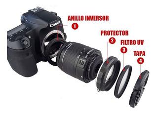 4 En 1 Anillo Macro+protector+ Filtro+ Tapa Para Canon 58mm