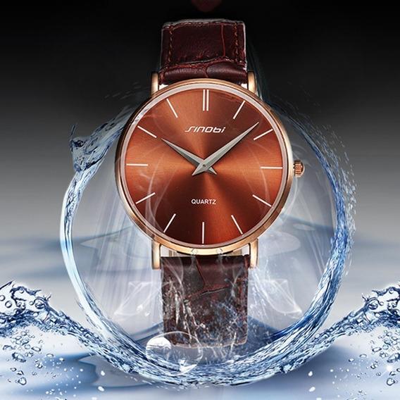 Relógio Masculino Ultra Fino Sinobi Pulseira De Couro Marrom