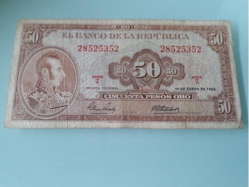 Imagen 1 de 2 de Billete De 50 Pesos Colombianos De 1964