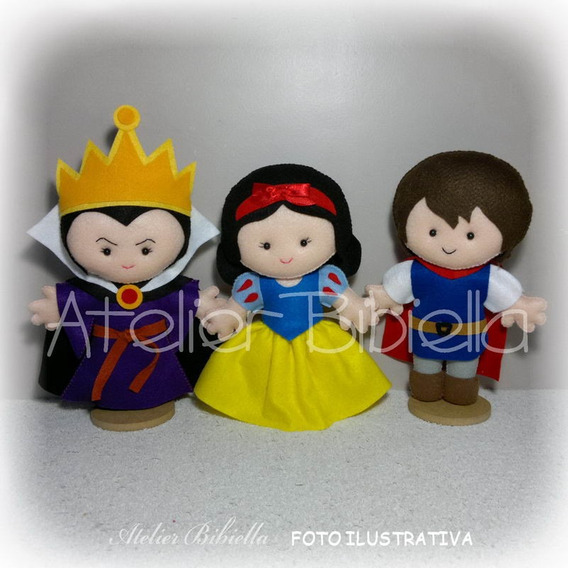 Branca De Neve 25cm- Kit 3 Personagens Feltro Madrasta Bruxa