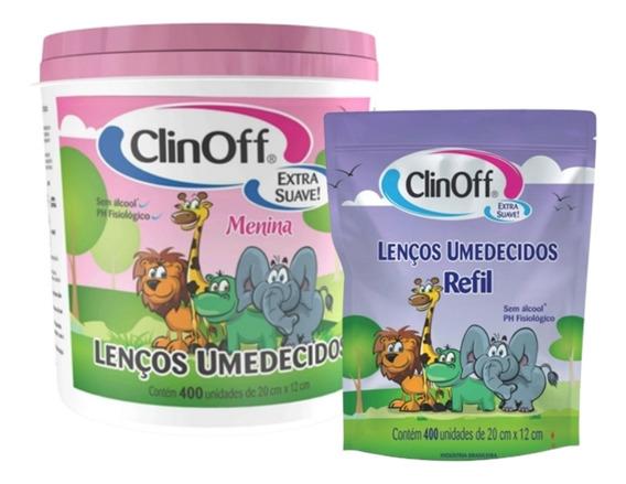 Kit Lenço Umedecido C/400 Toalhas + Refil Rosa Clin Off