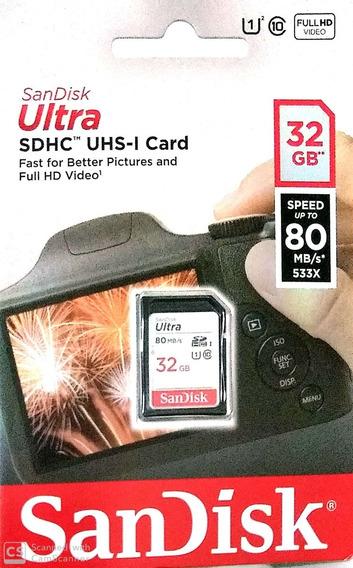 Cartão De Memória 32gb Sdhc Sandisk Ultra Classe 10 80mb/s