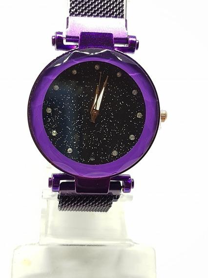 Relógio Feminino Com Strass Pulseira Imã